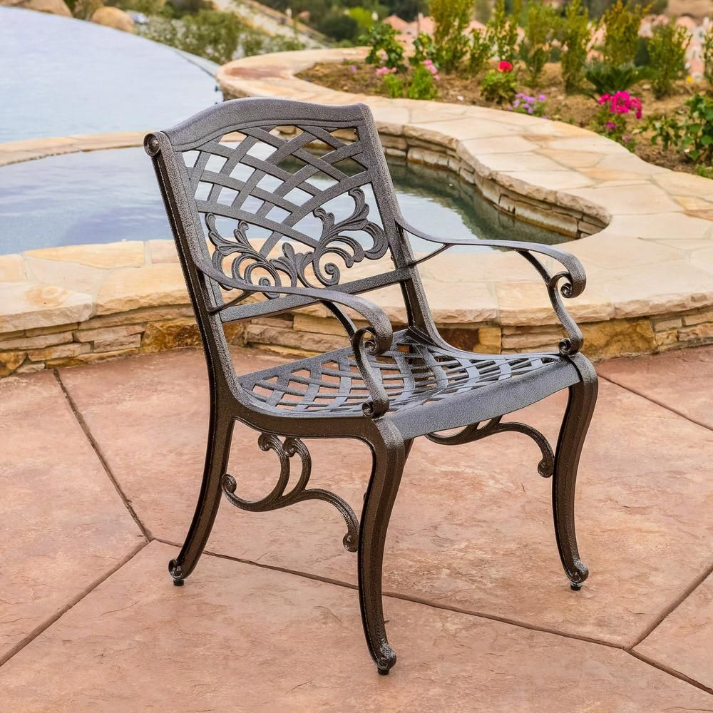 Noble House Sarasota Bronze Aluminum Outdoor Dining Chair Set Of 2 2481 Patio Dining Chairs Outdoor Dining Chairs Contemporary Outdoor Chairs