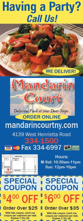 Mandarin Court In Rochester Ny With Savings On Delicious Asian Cuisine We Deliver Www Mandarincourtny Menu Aspx