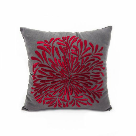 Admirable Red Grey Flower Throw Pillow Cover Floral Embroidered Evergreenethics Interior Chair Design Evergreenethicsorg