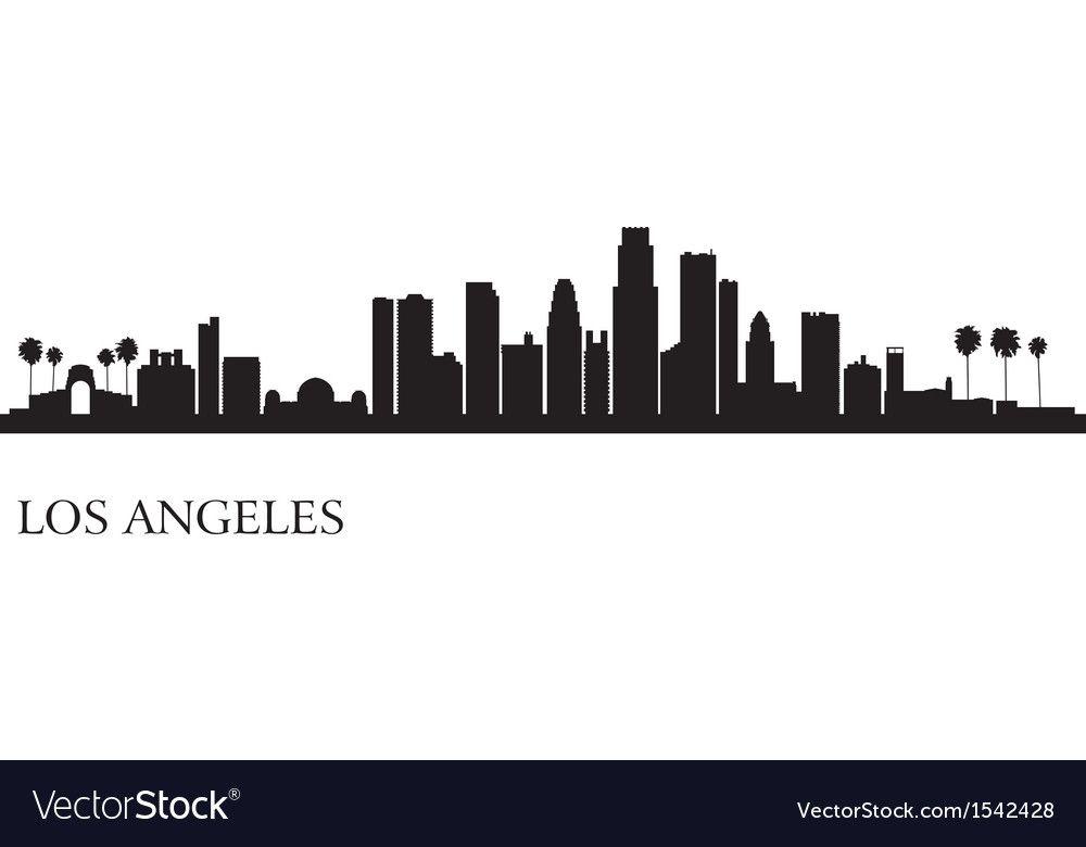 Los Angeles City Skyline Silhouette Background Vector Image Ad City Skyline Los Angeles Los Angeles Skyline City Skyline Silhouette City Silhouette
