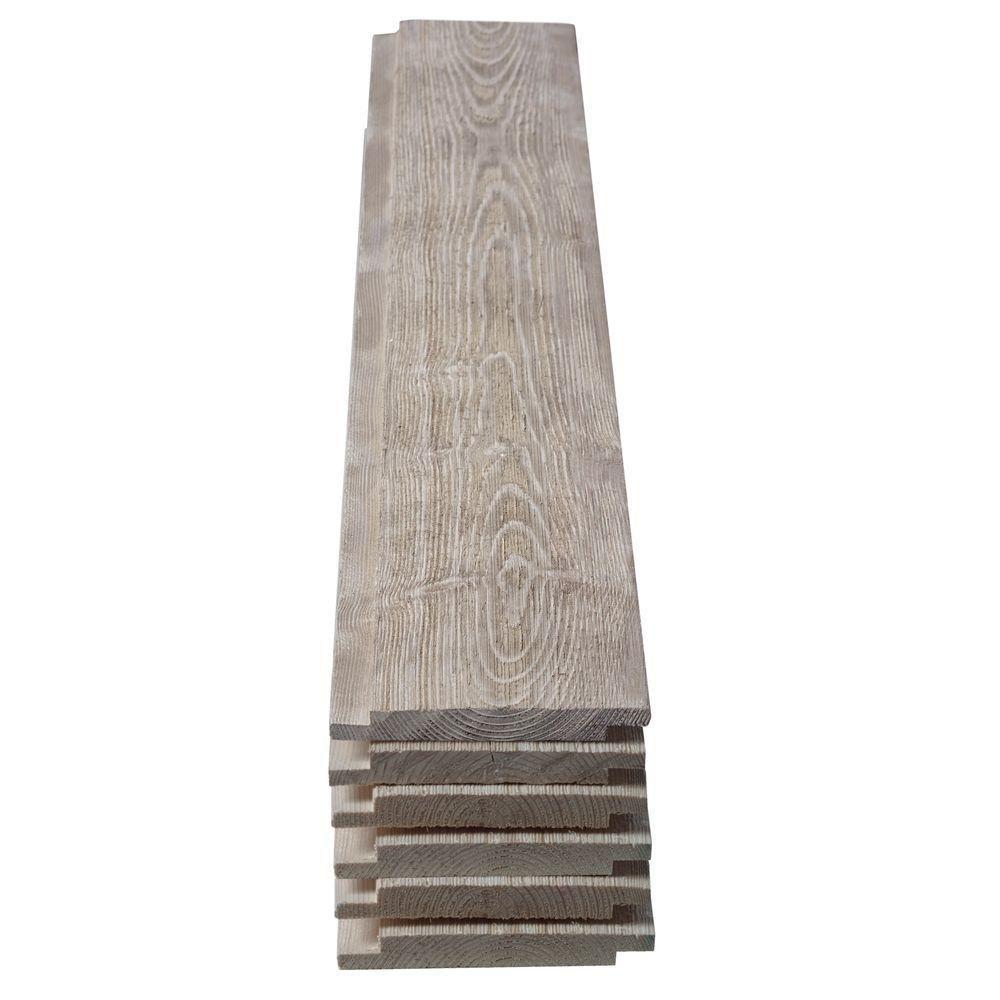 null 1 in. x 6 in. x 5 ft. Barn Wood Gray Shiplap Pine Board (6 ...