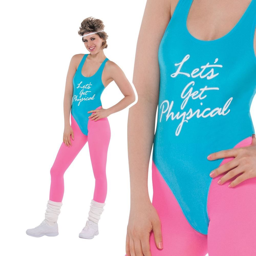 80s Lets Get Physical Costume Ladies Sport Exercise Leotard Fancy ...