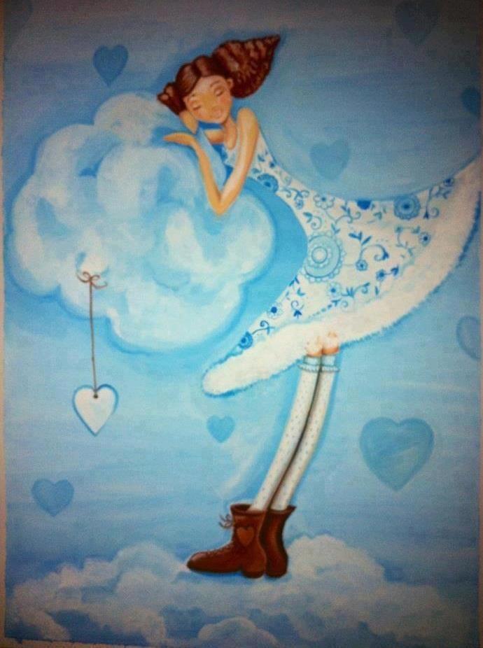Em nuvens   Ilustração, Ajudar os outros, Pinturas