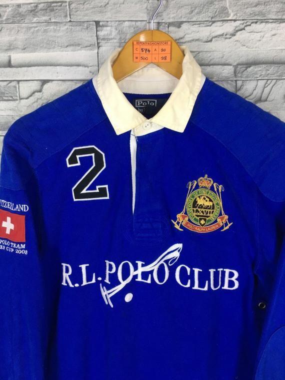 Lauren Club Ralph Shirt Unisex Rugby Vintage Polo Medium EID9WH2Y