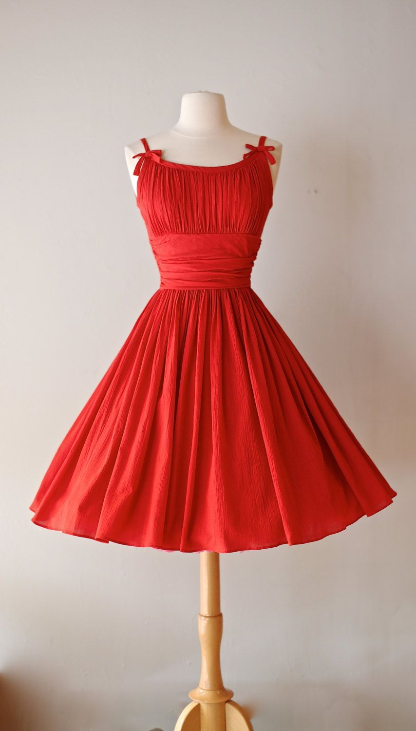4063f1494a7dd Vintage 1950s Red Party Dress ~ Vintage 50s Jonathan Logan Red Dress with  Full Skirt and Bows by xtabayvintage on Etsy