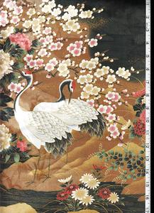 Kona Bay - Cranes & Floral Riverbank-Gold & Black - Last 2 1/2 yards :