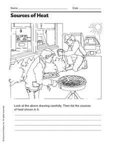 Sources Of Heat Worksheet For 2nd 3rd Grade Sources Of Heat