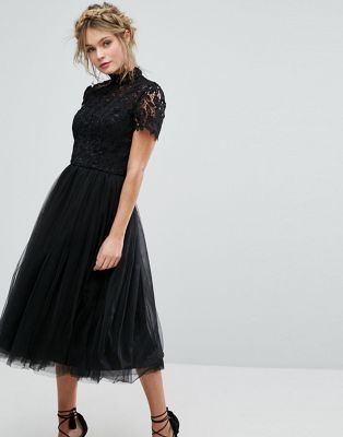Chi Chi London High Neck Lace Midi Dress With Tulle Skirt Wedding Guest Outfit Winter Lace Midi Dress Winter Wedding Guest Dress