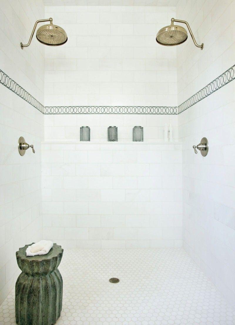 white bathroom, subway tile shower, ceramic stool, decorative tile ...