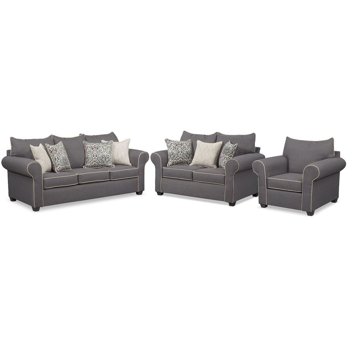 Carla Queen Sleeper Sofa Loveseat And Chair Set Value City Furniture And Mattresses Love Seat Value City Furniture Loveseat Sofa