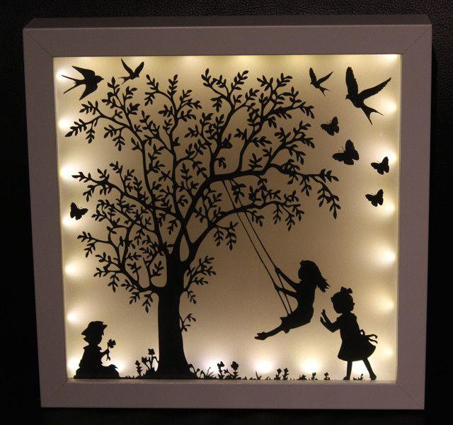 bilderrahmen beleuchteter bilderrahmen familie geschenk ein designerst ck von lillifeeee. Black Bedroom Furniture Sets. Home Design Ideas