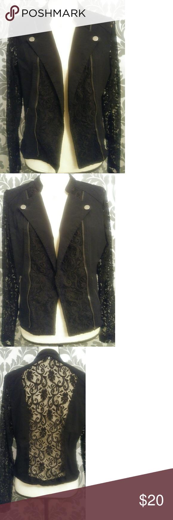 Candieus moto black lace jacket in my posh closet