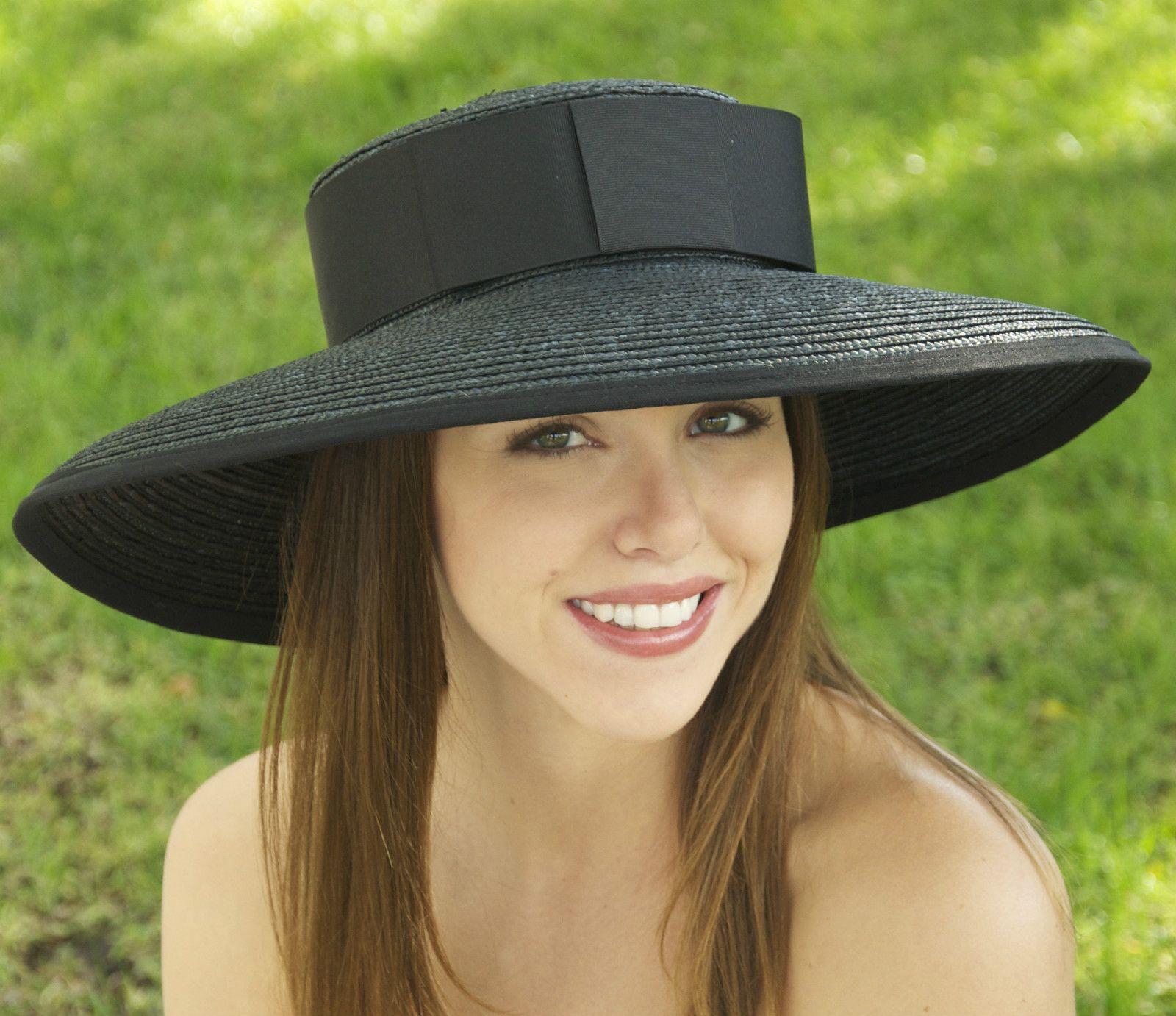 New Black Wide Brim Hat Ladies Womens Formal Straw Church ...