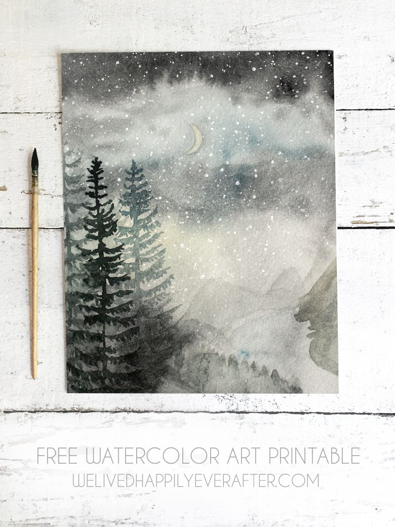 graphic about Free Printable Watercolor Pictures to Paint named Forest Valley Evening Season Watercolor No cost Printable