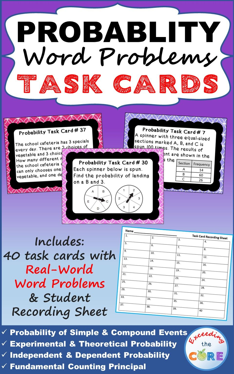Probability Word Problems Task Cards 40 Cards Back To School Probability Word Problems Word Problems Word Problems Task Cards
