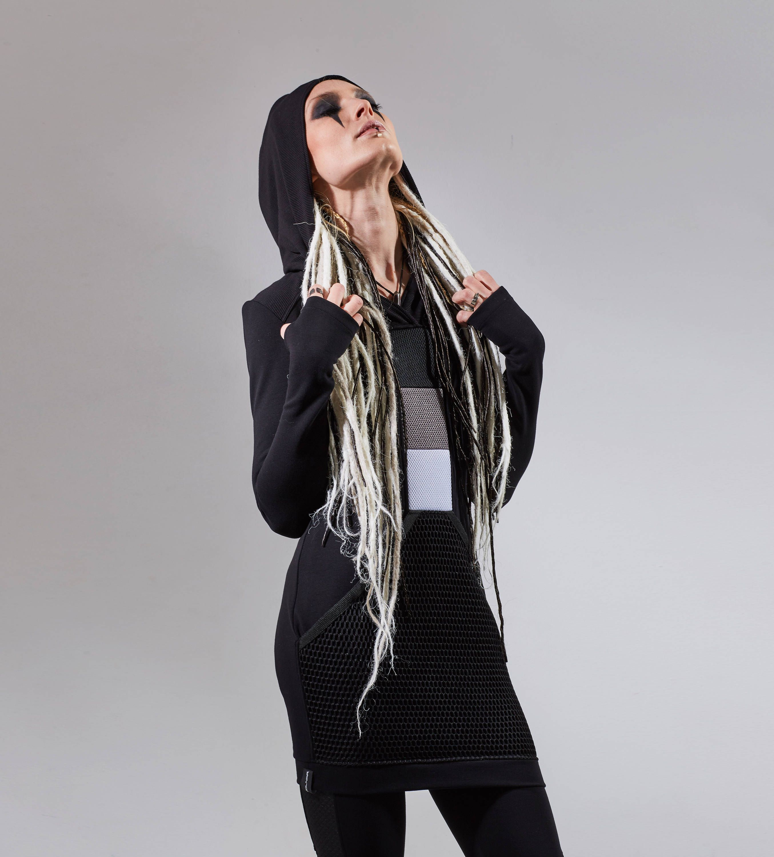 Black long hoodie avant-garde hooded dress with big front pocket, cyberpunk  clothing - SQ3