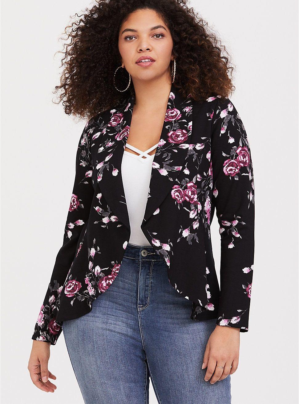 Black Floral Ponte Flared Blazer   Plus size fashion, Plus