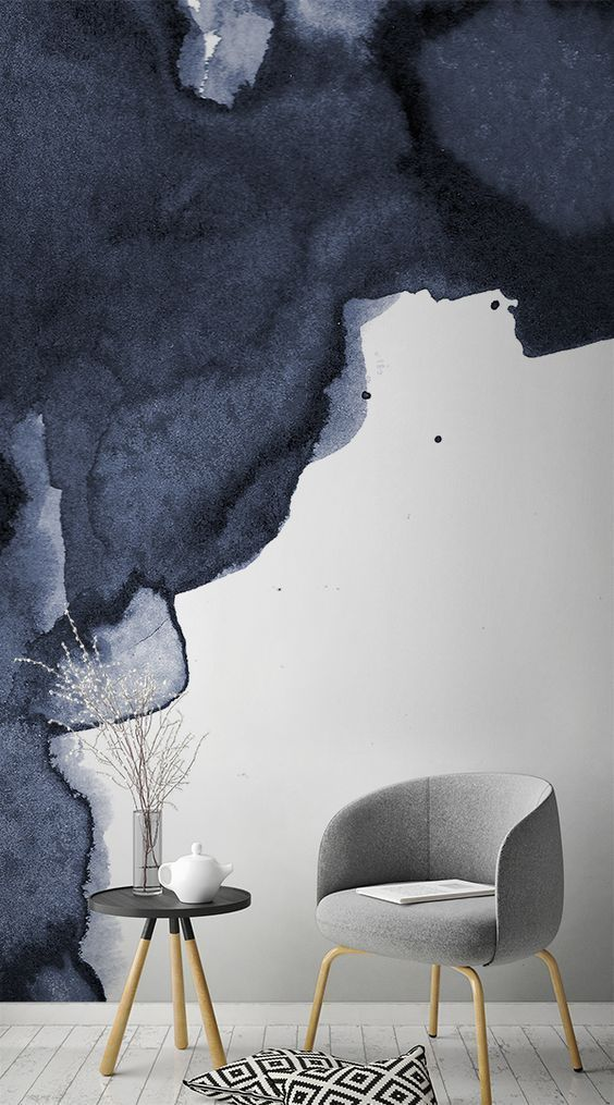 Marineblau Rauch Aquarell Wandgemälde | Interiors