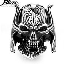 Cool Punk Men's Silver Plated Finger Knuckle Biker Ring Skull Hero Helmet 316L Stainless Steel Rings For Male Man Anillos(China (Mainland))