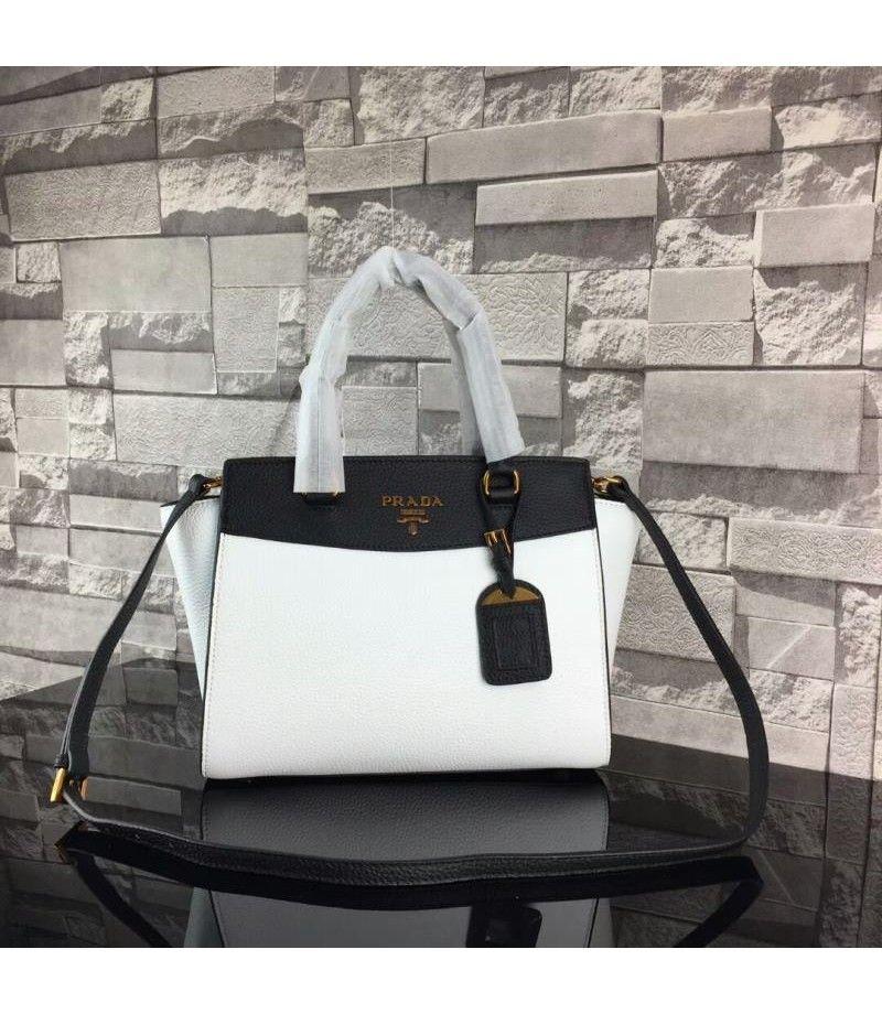 d372f60fcc Prada 1BA071 Saffiano Leather Tote In White Black