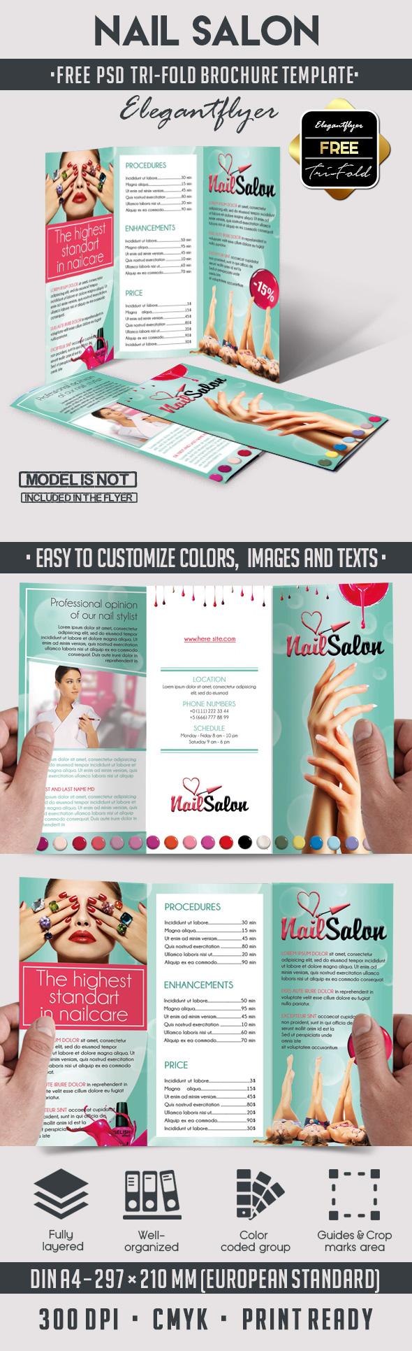 nail free tri fold psd brochure template httpswwwelegantflyer