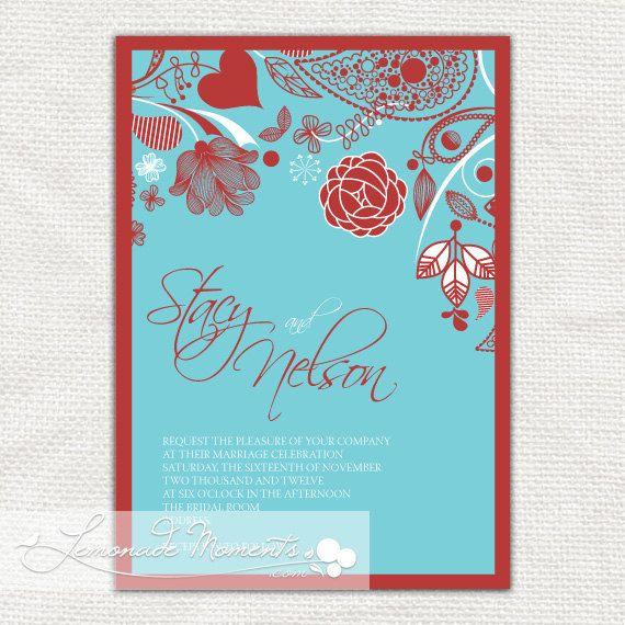 Aqua Tiffany Blue And Red Printable Wedding By Lemonademoments