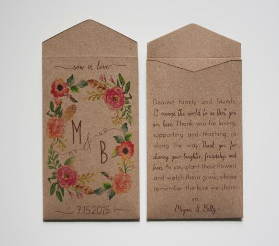 Custom Rustic Wedding Favor Seed Packet Envelopes - Many Colors