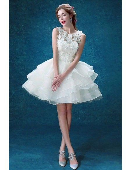 2017 Cheap Short Wedding Dresses Lace Ruffles Scoop Neck Short ...