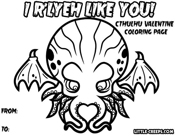 Cthulhu Valentine Coloring Page! Full Size Version (8.5\