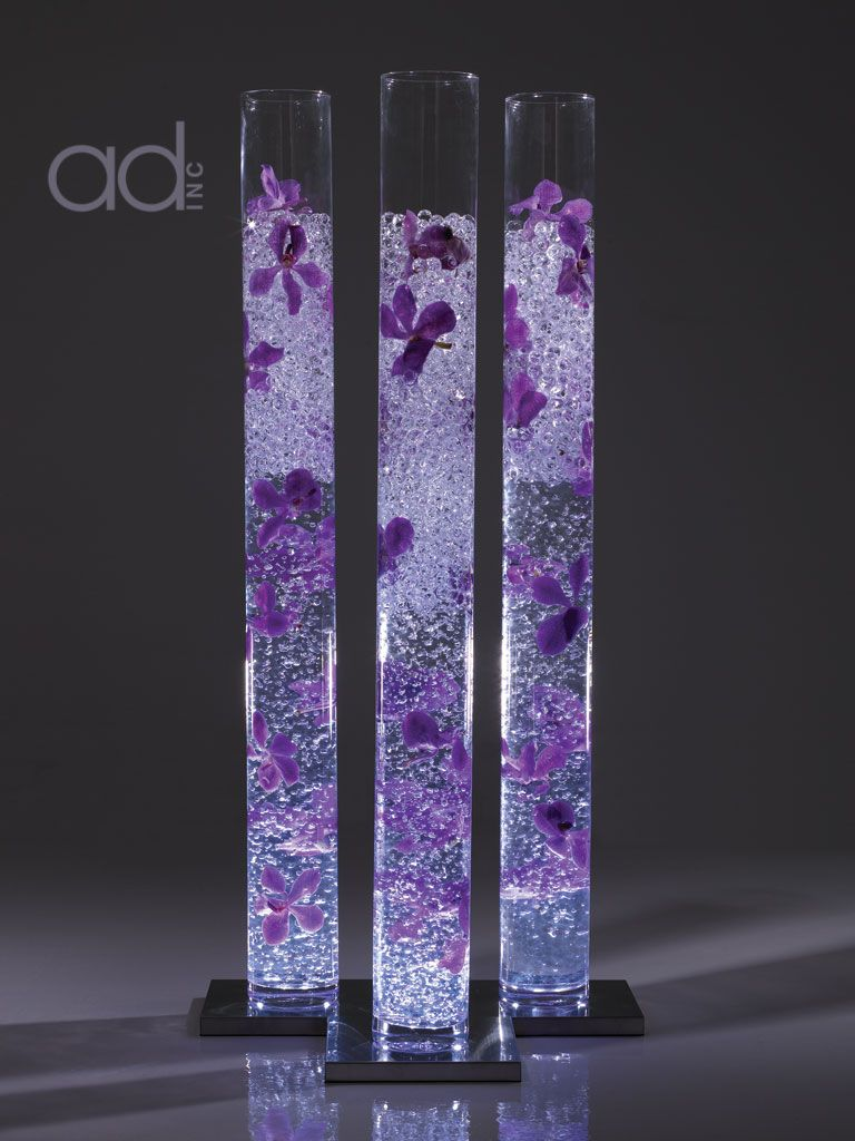 Purple Flower Clear Water Pearls In Cylinder Vases Designed By Hitomi Gilliam Wedding Ideas