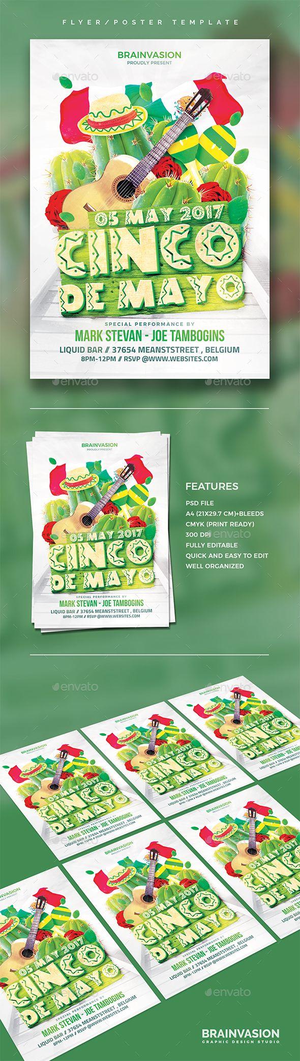 Cinco De Mayo Flyer Template   Pinterest   Cinco de Mayo y Photoshop