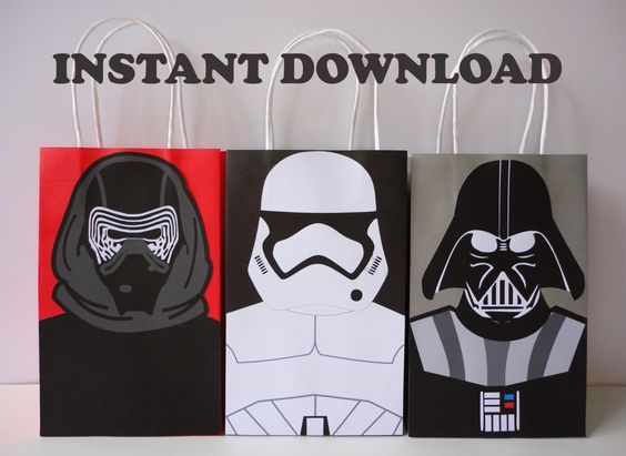 Printable Star Wars Birthday Party Ideas DIY Favor Bags StarWars