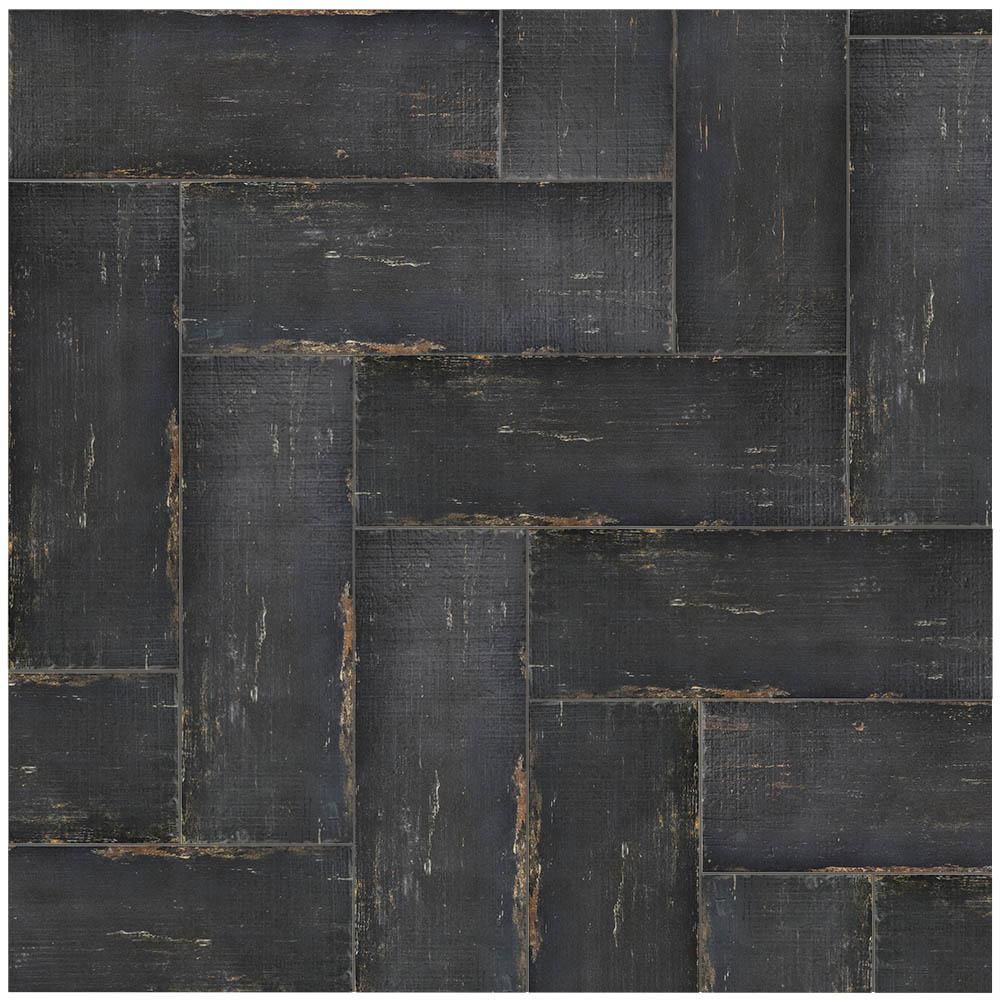 Merola Tile Retro Nero 8 1 4 In X 23 1 2 In Porcelain Floor And Wall Tile 11 22 Sq Ft Case Fnurt8ng The Home Depot Porcelain Flooring Black Floor Tiles Flooring