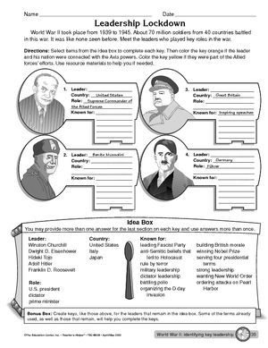 Worksheet: leaders during World War II | The Great Depression ...