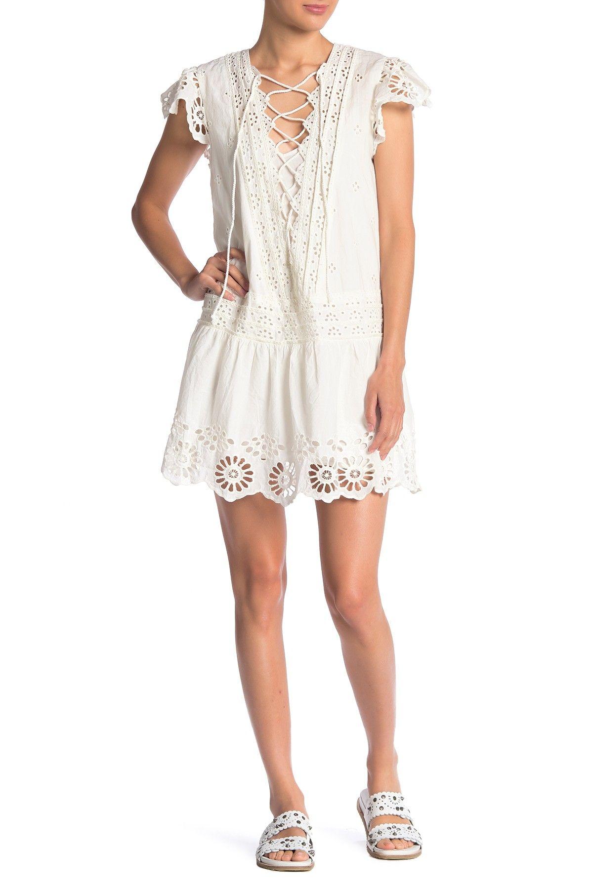 Free People Esperanza Eyelet Tunic White Mini Dress Mini