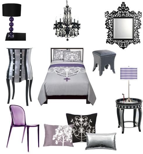 Black And Purple Bedroom sexy black, silver,fuschia and purple bedroom |  furnishings