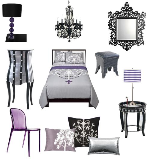Sexy Black, Silver,fuschia And Purple Bedroom