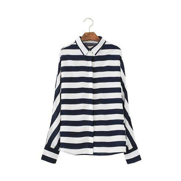 f9e1ebb6439ef6 Womens Striped Shirt Black White Horizontal Striped Vertical Stripes... (88  MXN) ❤ liked on Polyvore featuring tops