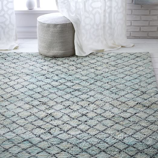subtle color in the den watercolor trellis wool shag rug blue