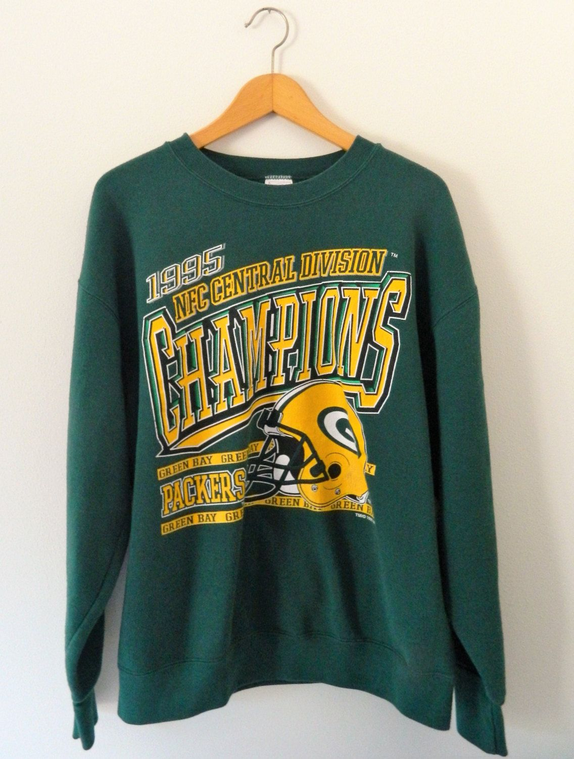 Vintage Green Bay Packers Sweatshirt 1995 Packers Nfc Central Division Champions Green Bay Packers Sweatshirt Sweatshirts Vintage Green