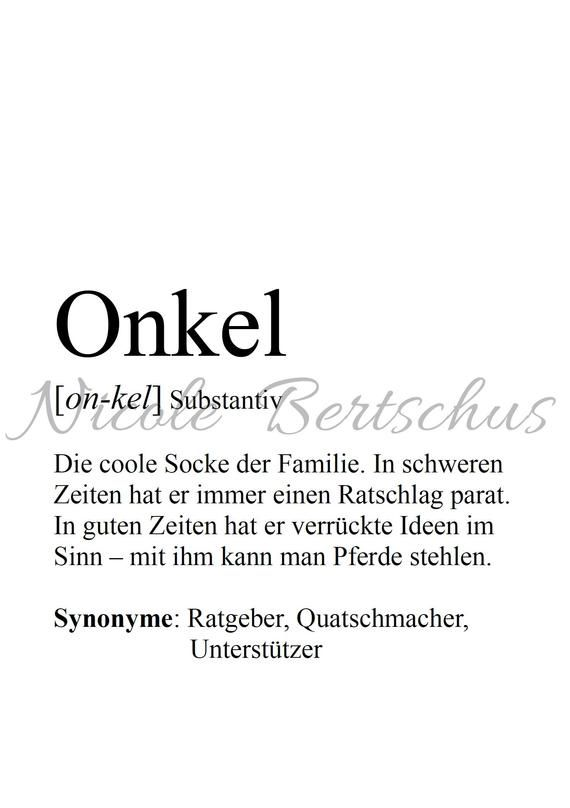 Print, Customizable, Definition ONKEL, Picture, Gift