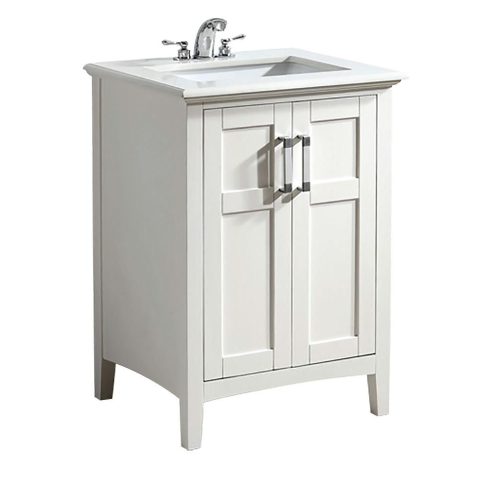 Simpli Home Winston 24 In Bath Vanity In Soft White With Quartz Marble Vanity Top In Bombay White With White Basin Nl Winston Wh 24 2a The Home Depot Marble Vanity Tops Single Sink Bathroom