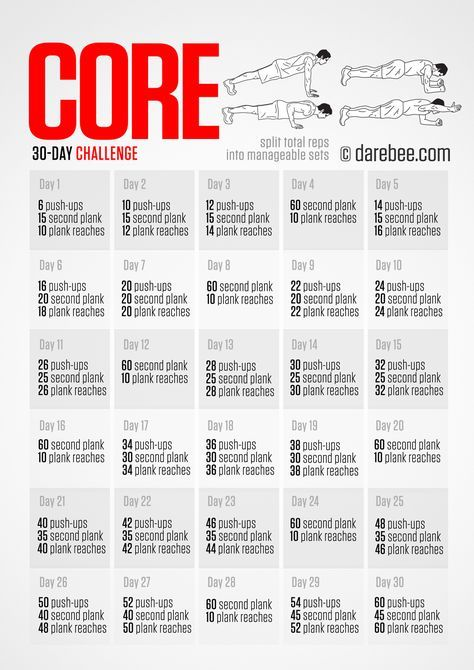 Download High Resolution Pdf Poster Core Challenge Workout Challenge 30 Day Challenge