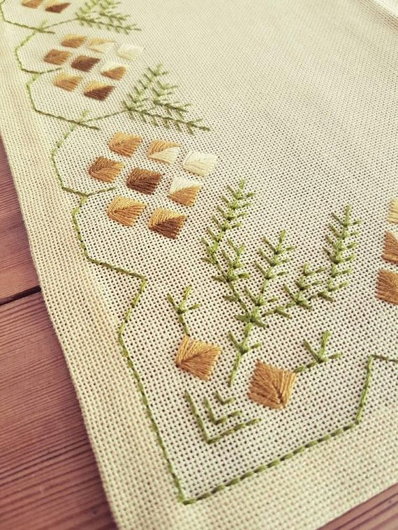 Amazing retro embroidered / tablecloth / 13 3/4″ x 13 3/4″ / in light yellow linen from Sweden