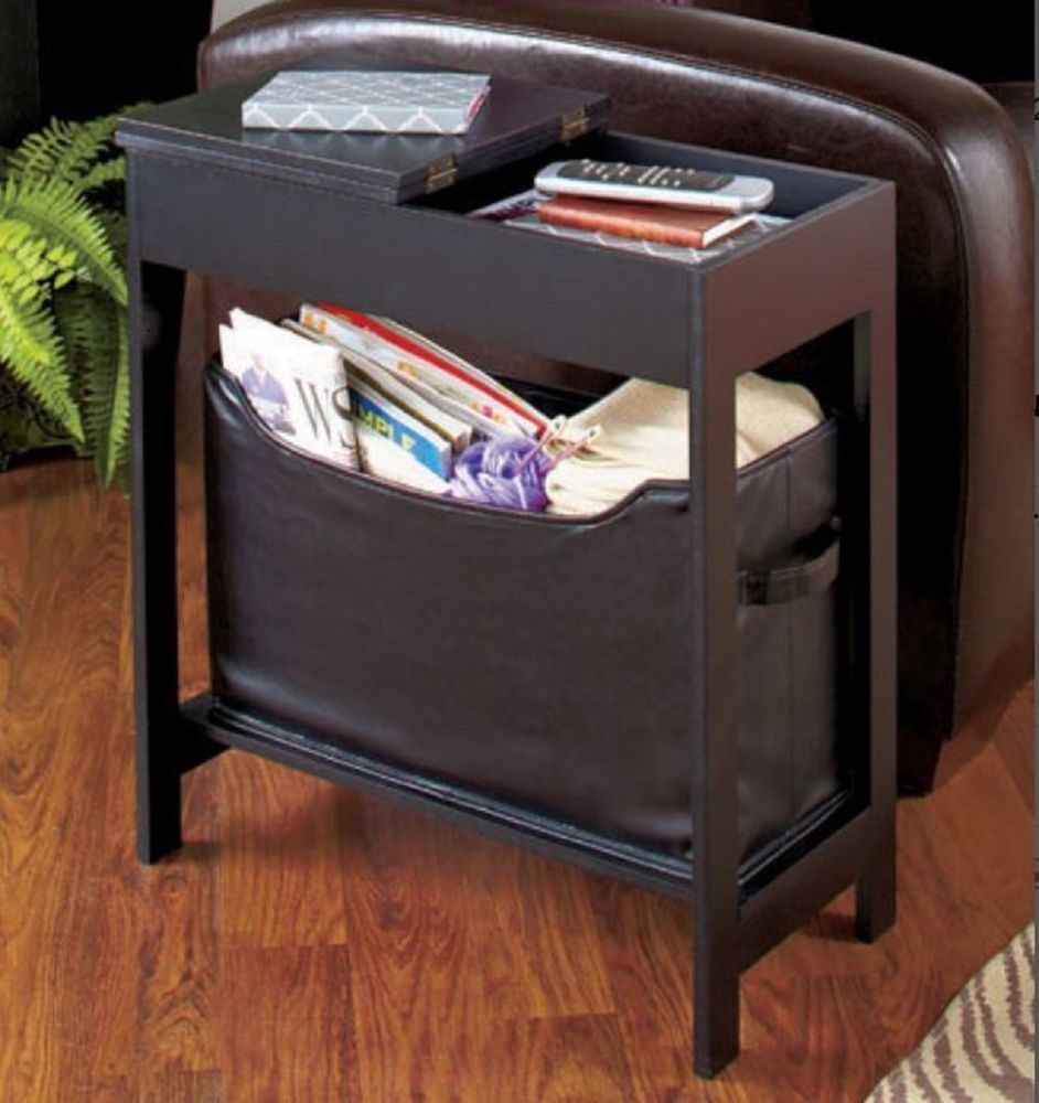Narrow Side Table Top Storage End Table Lower Bin Entry Hall Living Room Bedroom Unbranded Living Room Storage Sofa Storage Small End Tables