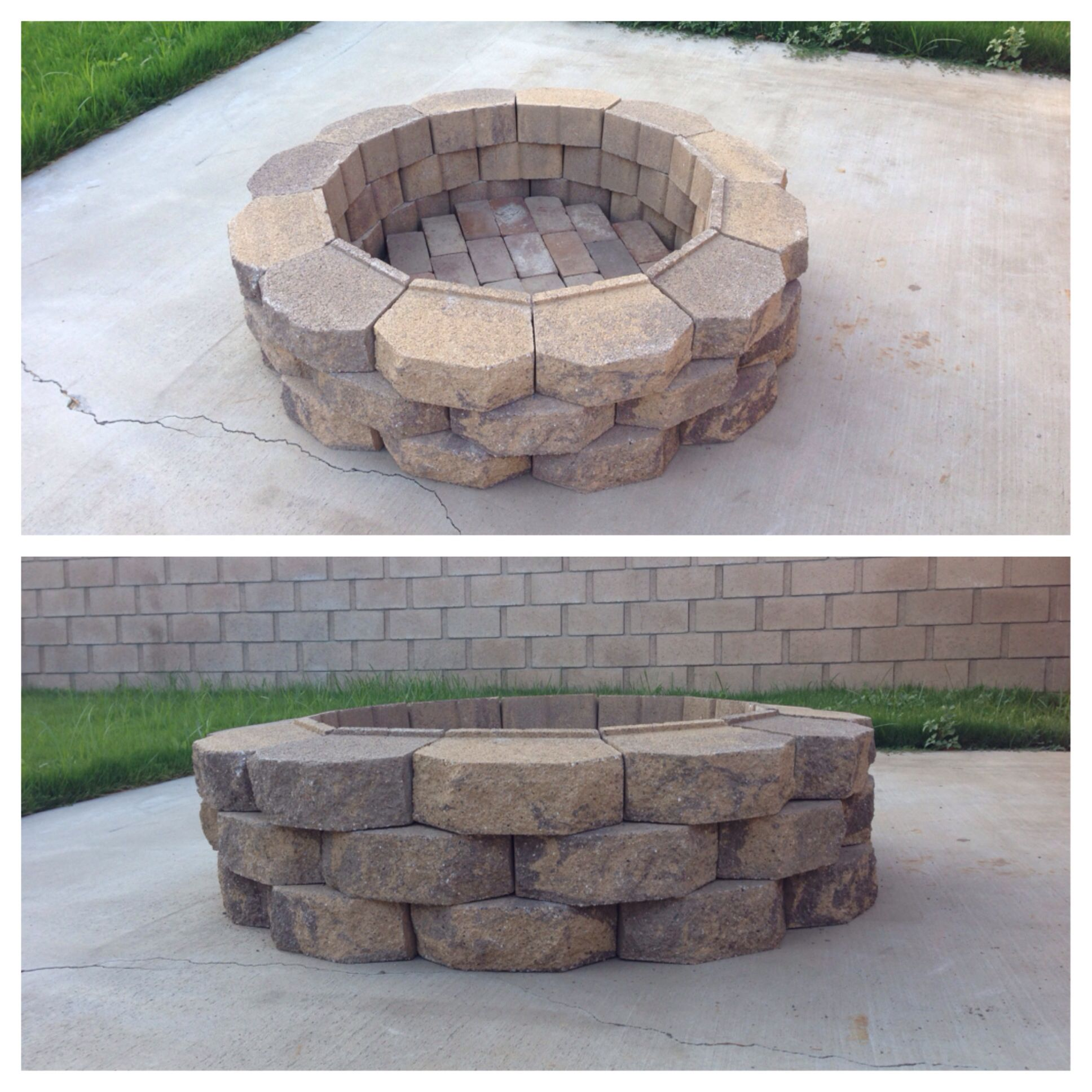 Diy Fire Pit 36 Retaining Wall Bricks Home Depot Layered Inside With Red Bricks From Yard Very Quick And Si Fire Pit Decor Fire Pit Backyard Backyard Fire