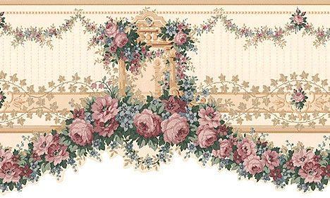 Victorian Floral Rose Garland Wall Border 323b12103 Floral Wallpaper Border Floral Wallpaper Swag Wallpaper