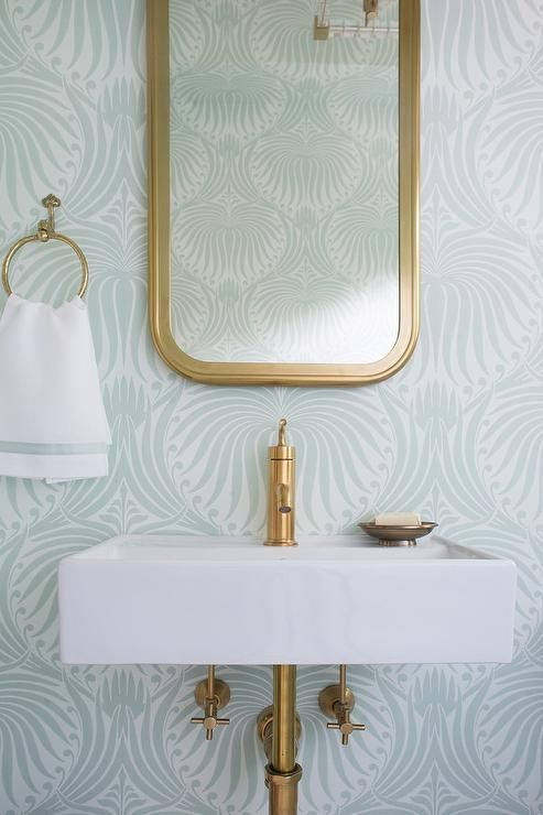 Sea Foam Green Bathroom Feature Walls Clad In Green Farrow Ball Lotus  Wallpaper Lined With A Restoration Hardware Astoria Flat Mirror Placed  Above A White ...