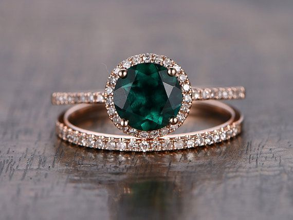 Valentine's Present Emerald Engagement Ring Set Round Cut Emerald Ring Set and Diamond Wedding Band Bridal Wedding Ring Set 14k Rose Gold #aquamarineengagementring