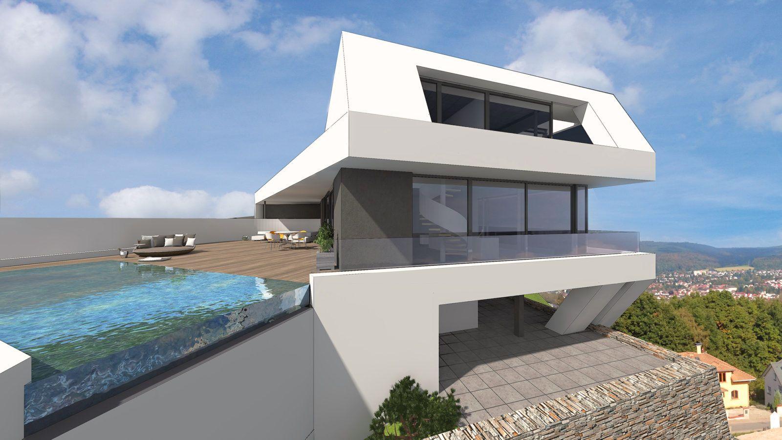 Moderne architektenhäuser mit pool  Architektenhaus am Hang im Odenwald